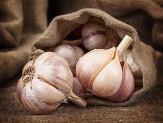 Fragrant ripe garlic in a bag of coarse cloth Stock Photos