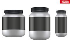 Mockup Sport Nutrition Container. Whey Protein and Gainer - stock illustration