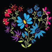 Color folk floral pattern in heart shape on black background Stock Illustration