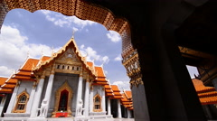 Wat Benjamaborphit in Bangkok. The Marble Temple in Thailand. Stock Footage