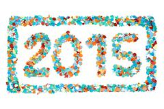 Carnival 2015 confetti and outline isolated Stock Photos