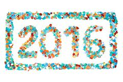 Carnival 2016 confetti and outline isolated Stock Photos