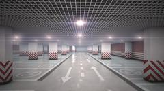 Underground  garage parking without cars refraction light Stock Illustration