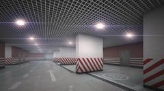 Underground  garage parking without cars refraction light - stock illustration