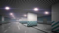 Stock Illustration of Underground  garage parking without cars refraction light