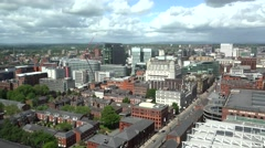 ULTRA HD 4K Timelapse cloud pass traffic street Manchester tourism attraction  - stock footage