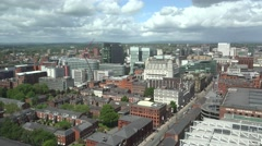 ULTRA HD 4K Aerial view Manchester cityscape landmark traditional architecture  Stock Footage