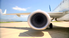 Startup jet engine before a takeoff rg Stock Footage