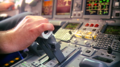 Pilot push thrust lever handle for takeoff a plane in the cockpit RG - stock footage
