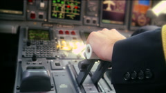 Pilot push thrust lever handle for takeoff a plane in the cockpit slowmotion RG - stock footage
