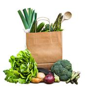 vegetables in paper bag - stock photo