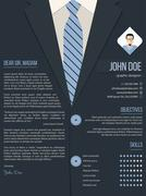 Cool cover letter resume template with business suit background - stock illustration