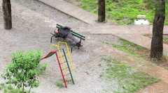 Tramp sleeping on the park bench Stock Footage