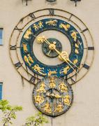 zodiac clock - stock photo