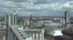 Stock Video Footage of ULTRA HD 4K Panoramic view Manchester landmark beautiful skyline modern building
