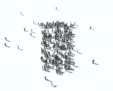 Large group of people in the form of Stock Illustration