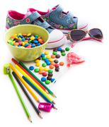 Children's stuff and sweets Stock Photos