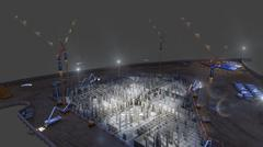 construction of concrete foundation of building night on dark background - stock illustration