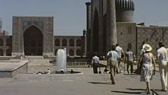 Samarkand 1981: visitors outside a Mosque Stock Footage