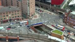 ULTRA HD 4K Timelapse Manchester urban commuter transportation car train tramway Stock Footage