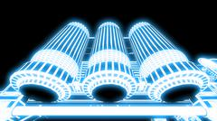 steampunk mechanism blue grid on black background - stock illustration