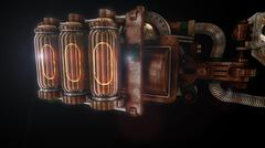 Stylized steam punk rust mechanism - stock illustration