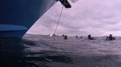 Group of Scuba Divers Beside the Dive Boat Stock Footage