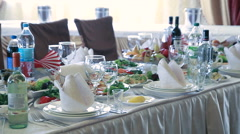 Table set for wedding or another catered event dinner Stock Footage