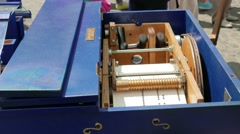 Closeup of a barrel organ mechanism Stock Footage