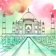 Drawing of the Taj Mahal. Agra, India Stock Illustration