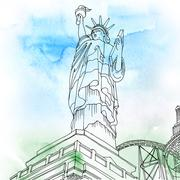 Stock Illustration of Statue of Liberty. New York City, United States