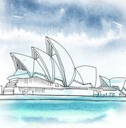 Sydney Opera House. Sydney, New South Wales, Australia - stock illustration