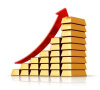 Bar chart from gold ingots Stock Illustration