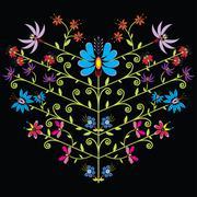 Ethnic folk floral pattern in heart shape on black background - stock illustration