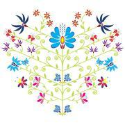 Ethnic folk floral pattern in heart shape on white background Stock Illustration