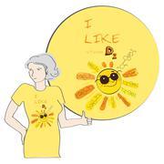 T-shirt design: I like vitamin D 2 - stock illustration