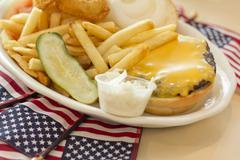American Flag Cheeseburger - stock photo