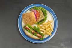 Cheeseburger Hotdog Fries Stock Photos