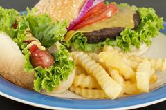 Cheeseburger Hotdog Fries - stock photo
