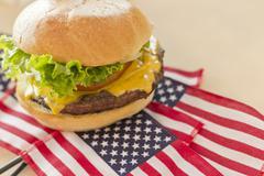 American Flag Cheeseburger Stock Photos