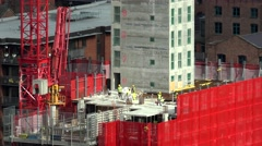 ULTRA HD 4K Timelapse worker built block residential district crane machine icon Stock Footage