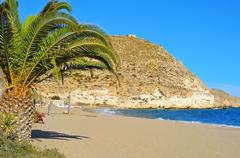 Stock Photo of Beach of Agua Amarga in the Cabo de Gata-Nijar Natural Park, in Spain