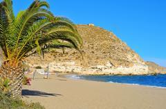 Beach of Agua Amarga in the Cabo de Gata-Nijar Natural Park, in Spain Stock Photos