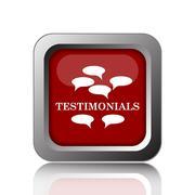 Testimonials icon. Internet button on white background. Stock Illustration