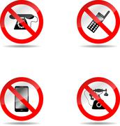 Ban phone set - stock illustration