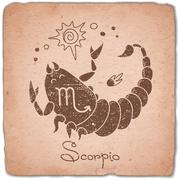 Scorpio zodiac sign horoscope vintage card - stock illustration