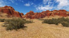 Daytime canyon landscape Stock Illustration