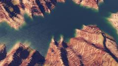 Canyon river aerial view - stock illustration