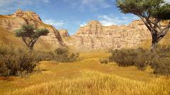 Acacia trees among sandstone cliffs - stock illustration