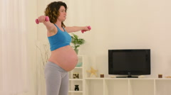 Pregnant Woman Doing Fitness Arkistovideo